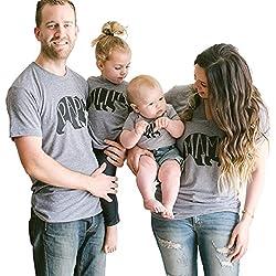 Minetom Hombres Mujeres Casual Letra Oso Impreso Tops Mamá Papá Hijo Hija Manga Corta T-Shirt Blusa Ropa Familia Camiseta Baby 02 3-4 Meses (56)