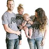 Minetom Mode Familie Ausgestattet Sommer Papa und Sohn Mama und Tochter Beiläufig Kurzarm Bär Drucken T-Shirt Bluse Tops Papa EU Medium