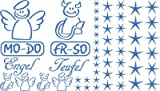 Autoaufkleber Sticker Aufkleber Set für Auto Schriftzug Engel Mo-Do Fr-So Teufe (555 gletscherblau)