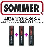 3x Sommer 4026TX03–868–4, 2-Kanal-868MHz Fernbedienung, Top Qualität Original. 100% Kompatibel mit Sommer 4026, Sommer 4031, Sommer 4025