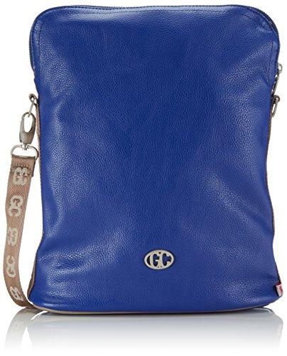 Neue Damen Polo (Poodlebag Damen German Couture-bicolor-Crossover Umhängetaschen, Mehrfarbig (Blue/Stone), 28x8x34 cm)