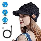 CestMall  Bonnet tricoté Bluetooth Chapeau de musique sans fil rechargeable par USB  Bonnet d'hiver tricoté doux et chaud avec casque intégré Casque Stéréo Musique Répondeur Téléphoner pour Hommes F