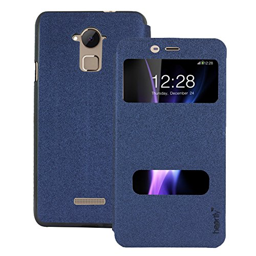 Heartly GoldSand Sparkle Luxury PU Leather Window Flip Stand Back Case Cover For Coolpad Note 3 / Coolpad Note 3 Plus – Power Blue