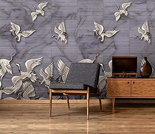 Vliesstoff - Wandbild - Foto - 3D - Moderne Tapetefototapete 3D Wallpaper Handbemalte Xiangyun White Crane Einfache Klassische Moderne Tapeten Für Wohnzimmer Schlafzimmer Tv Wall Decor@350 Cm X 250 Cm -