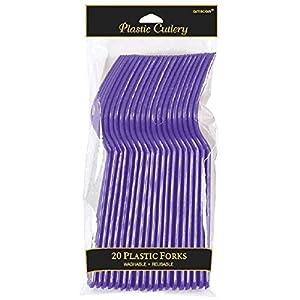 Amscan Internacional Cubiertos Tenedores (paquete de 24, púrpura)