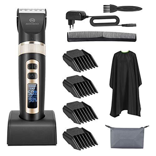 MooSoo Haarschneider, Profi Haarschneider Bart ELECTRIK mit LCD-Display Kabellos für Männer/adulte/Kinder/Profi