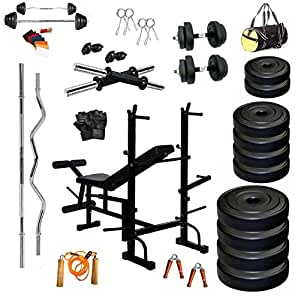 BodyFit PVC 50kg Combo 35 Home Gym with 8 In 1 Multipurpose Bench (Multicolour)
