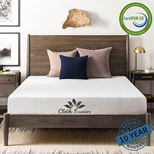 "Cloth Fusion Fruton 2nd Gen 8 inch Gel Memory Foam Mattress for King Size Bed (75"" x 72"" x 8"", White)"