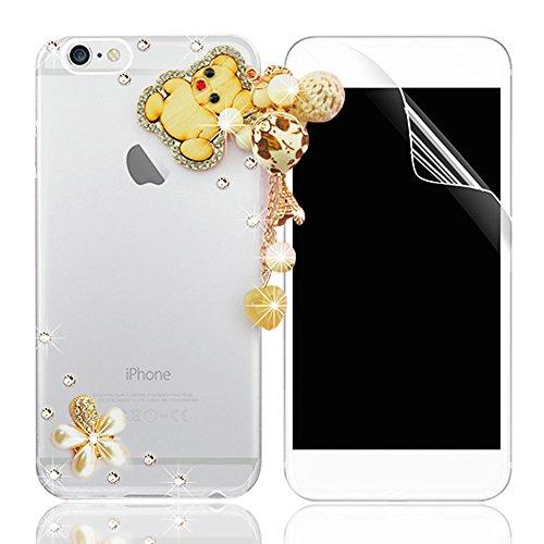 Coque iPhone 5S, iPhone SE/5S/5 Coque Bling Diamant Strass Transparent Rigide PC 3D Clair Glitter Crystal Etui Housse de Protection Ultra Mince Légère [Pare-Chocs Anti-Choc] Bumper Rhinestone Paillett Pattern 04