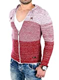 Reslad Strickjacke Herren Colorblock Kapuzen Cardigan Jacke RS-3107 Bordeaux L