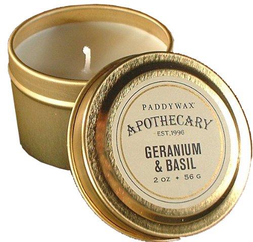 Basilikum Soja-kerze (Paddywax Kerzen Apotheker Collection Kerze in Blechdose,-/Bratenspritze, Geranie und Basilikum)