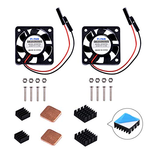 GeeekPi Raspberry Pi Cooling Fan 30 x 30 x 7 mm DC 5 V Brushless Cup Lüfter mit Raspberry Pi Kühlkörper für Raspberry Pi 3/2 Modell B, Raspberry pi 3B + & retroflag nespi Fall Plus (2-Pack) -