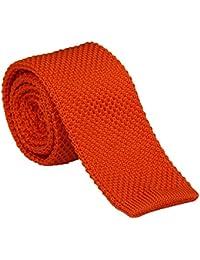 Amurleopard Cravate homme tricot couleur uni slim cravate 5CM