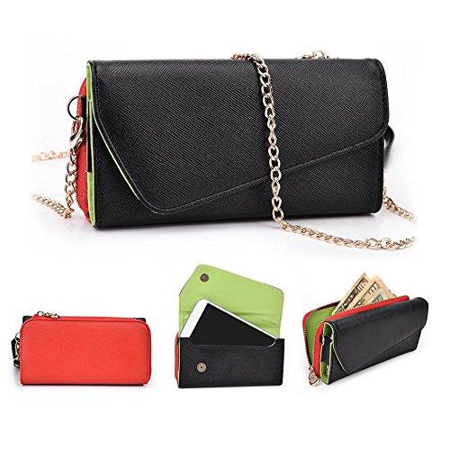 Kroo d'embrayage portefeuille avec dragonne et sangle bandoulière pour Oppo N3 Noir/rouge Noir/rouge