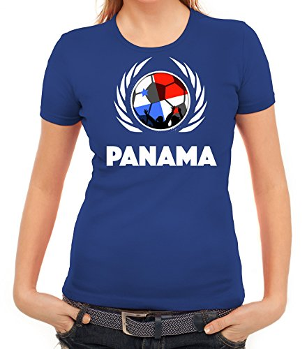 ShirtStreet World Cup Wappen Soccer Fussball WM Fanfest Gruppen Fan Wappen  Damen T-Shirt Fußball