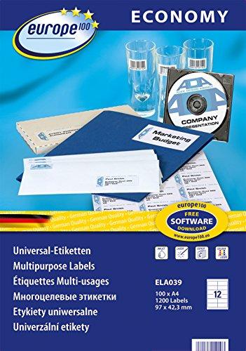 europe100 ELA039 Universaletiketten (97 x 42.3 mm, 100 Blatt/1200 Etiketten) weiß