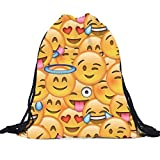 Tongshi Unisex Emoji mochilas de impresión 3D Bolsas del morral del lazo (B)