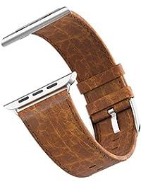 Apple Watch Correa,JETech 42mm Cuero Genuino Correa Muñeca Reemplazada con Bloqueo del Metal para Todos los Modelos de Apple Watch de 42mm (Marrón) - 2217