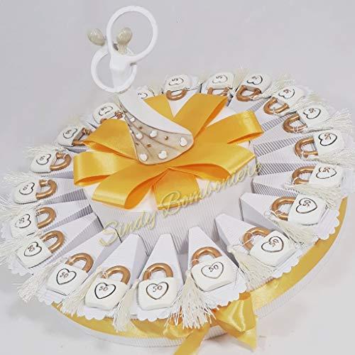 Idea torta bomboniera per 50esimo 50 anno di matrimonio nozze anniversario lucchetto sposi amore (torta da 35 fette + centrale)