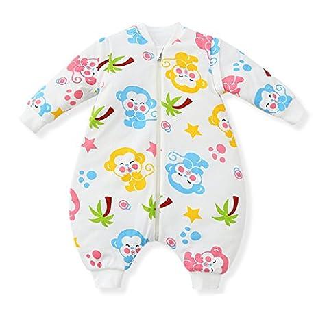 Missfly Baby Schlafsack mit Abnehmbare langen Aermeln ,mit Beinen, Kleine Kinder Schlafsaecke,Ganzesjahr 2.5 Tog, Glücklicher Affe, L-Laenge:80cm