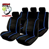 kmhsb303–Asiento Puf Set Negro/Azul de asiento con airbag páginas para Peugeot 307, 308, 406, 407, 607, 308, 508--