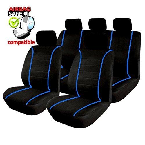 Preisvergleich Produktbild KMHSB303 - Sitzbezug Set Schwarz / Blau Sitzschoner Sitzkissen mit Seiten Airbag geeignet für SUZUKI Grand Vitra Swift Sport