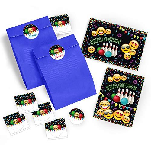 JuNa-Experten 6 Einladungskarten Geburtstag Kinder Jungen Jungs Mädchen Bowling / Einladung zur Bowling-Party / Kartenset incl. 6 Umschläge, 6 Tüten / dunkelblau, 6 Aufkleber