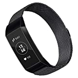 Qianyou Milanese Fitbit Charge 3 Armband, 20mm Edelstahl Fitbit Charge 3 Armbänder Unisex Uhrenarmband Metallarmband mit Magnetverschluss für Fitbit Charge SE ( 6,7