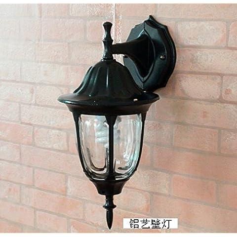 Illuminazione per esterni continental luci da parete moderno minimalista Patio esterno lampada impermeabile retrò paesaggio luce LED con balcone, nero