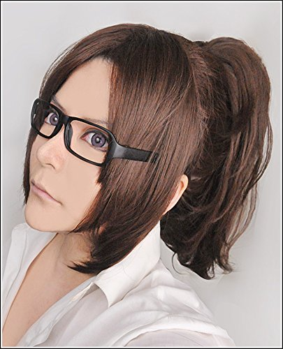 LanTing Cosplay Perücke Attack On Titan Hanji Zoe Brown Lange Perücke Frauen Cosplay Party Fashion Anime Human Costume Full wigs Synthetic Haar Heat Resistant (Hanji Cosplay Kostüm Zoe)