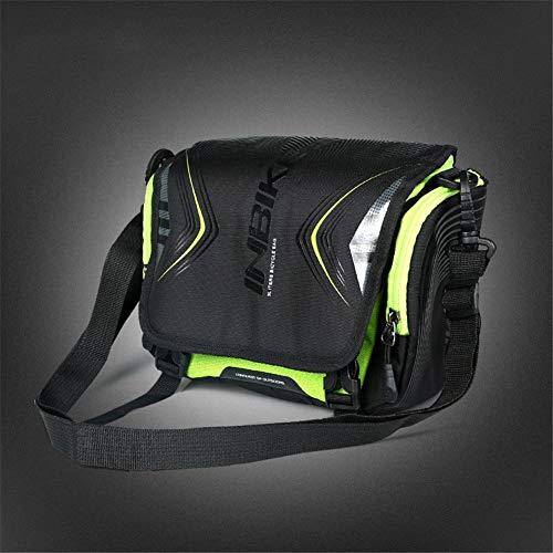 ASOSMOS Fahrrad Lenker Tasche Fahrradtasche mit Abnehmbarem Schultergurt, Große Kapazität und Wasser Beständig - Grün -