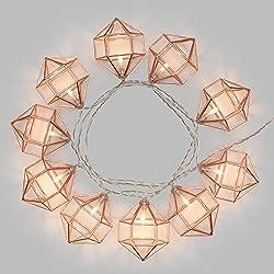 LuminalPark - Guirnalda con Luces LED y Diamantes Jaula metálica de 1,35 m para Decoración de Interiores y Adornos Navideños