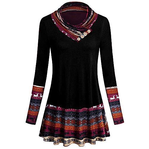 BaZhaHei Damen Weihnachten Sweatshirt Karneval Stil Mode Lässig Frauen Patchwork Hoodie Print Bluse Pullover Bluse Outwear Hoodie