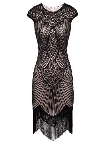 illetten verschönert Quasten Falten Flapper Kleid D20S002(XL,Dunkel Beige+Schwarz) (1920 Frauen Kostüm)