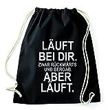 Top 10 Sprüche & Designs auswählbar / Sambosa Turnbeutel mit Spruch / Beutel: Schwarz / Rucksack / Jutebeutel / Sportbeutel / Hipster , Bag:Rückwärts