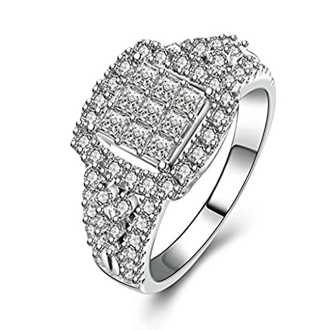 AMDXD Jewelry Sterling Silver Women Promise Customizable Rings Square?CZ Size O 1/2,Engraving