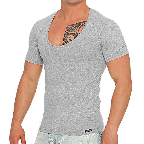 Finchman 93H2 Herren V-Neck T-Shirt Freizeit V-Ausschnitt Hellgrau Gr. XXL (T-shirt Hellgrau)