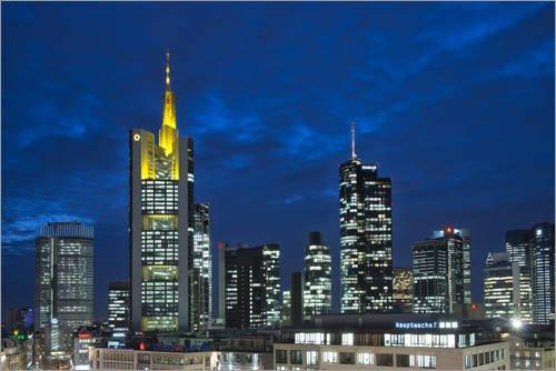 Unbekannt Forex-Platte 90 x 60 cm: Bankenviertel in der Abenddämmerung, Commerzbank Gebaeude, Frankfurt am Main von Bernd Wittelsbach/Mauritius Images