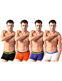 Sirtex Eazy Modal Men'S Trunk - Pack Of 4 - Black, Orange, Royal Blue & White