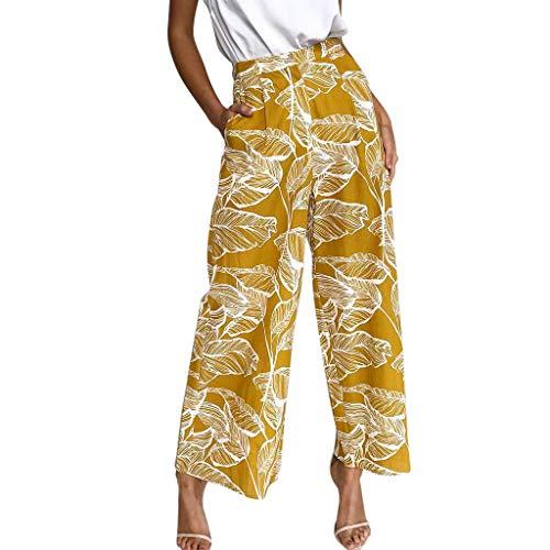 ASHOP Hosen Damen, Frauen Culottes Hosen Elegant High Waist Beiläufiges Blatt Drucken Elastisches Bund Weites Bein Hosen Freizeithose Stoffhose Gelb,S -