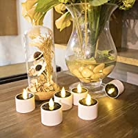 Expower Rechargeable LED Flameless Candles Tealight Candles With Base(Set of 12) from Expower