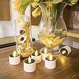 Expower 6 Stücke Solarleuchte LED Kerzen Lampe Flammenlose Teelichter Kerzenlichter für Partei,Hochzeit,Festival Dekoration Blumendekoration-Neue Design (Weiß) - 2