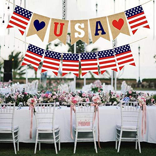 or 2 STÜCKE Unabhängigkeitstag Sackleinen Banner Amerikanischen USA Bunting Banner Leinen Flagge Dekoration Für Amerikanische Nationalfeiertag ()