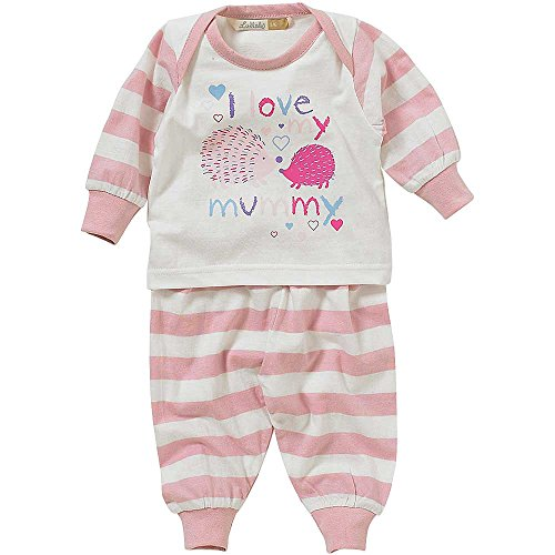 Lullaby Baby Girls I Love My Mummy Daddy Striped Heart Print Pyjamas