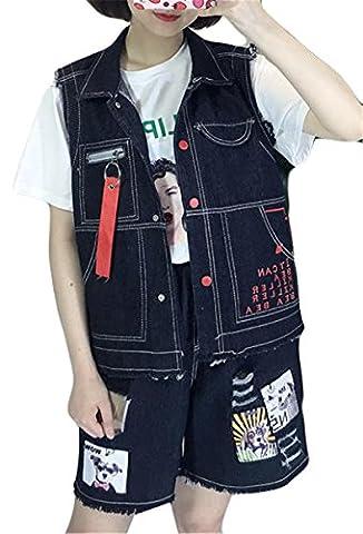 Femmes Sans manches BF Style Lapel Button Pochettes imprimées Vestes en denim Manteau Denim Vest