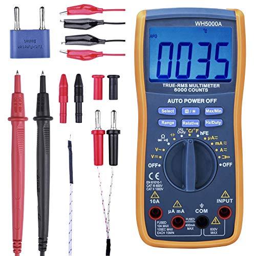 Digital Multimeter, True RMS6000 zählt Multimeters Manuelle und Auto-Rang, Misst Spannung, Strom, Widerstand, Kontinuität, Kapazität, Frequenz, Testet Dioden, Transistoren, Temperatur WH5000A Wireless-true Rms Multimeter