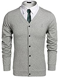 CRAVOG 2016 Mode Pull Veste Tricot Homme Casual à Manche Longue Col V  Boutton Sweater Cardigan ad5f71c46e7