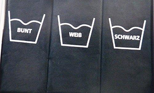 Wäschesortierer Wäschekorb Wäschesammler Wäschebox Trio 141 Liter (3 x 47 Liter) 3 Fächer zum Vorsortieren Sortieren der Wäsche nach Farbe oder Wasch-Temperatur mit Alu-Gestell (Schwarz) - 3
