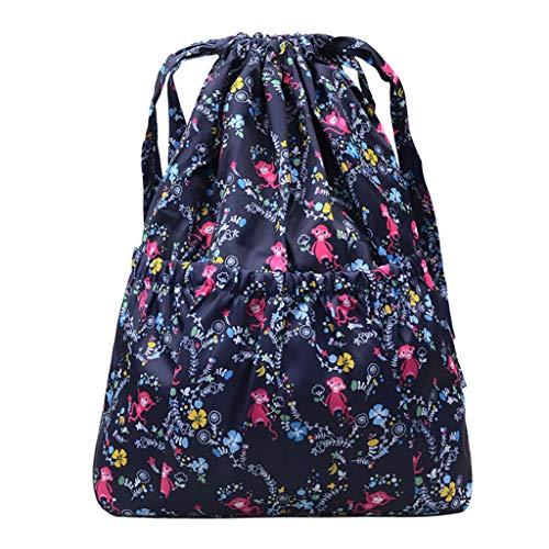 Rucksack Damen Elegant Rucksackhandtaschen Mode Mädchen Schule Student Schultasche Im Freien Reise Backpack Anti Diebstahl Taschen Qmber Einfache lässige Reisetasche mit Nylon-Print/F1