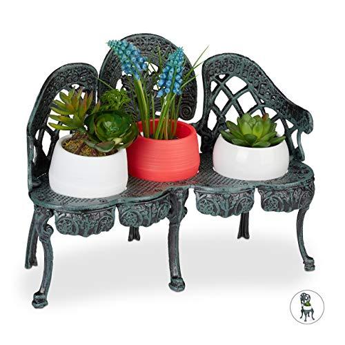 Relaxdays Mini Blumenbank, Gusseisen, antik, Blumenständer für 3 Topfpflanzen, Vintage, Garten & Balkon Deko, dunkelgrün